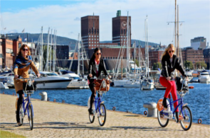 Cycling by the dock